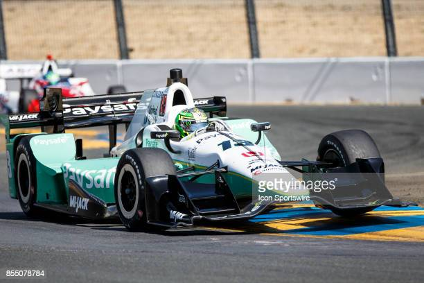 Zachary Claman DeMelo in the Honda powered Paysafe IR12 at the bus stop during warmup for the Verizon Indycar Series GoPro Grand Prix of Sonoma held...