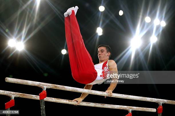 Zachary Clay of Canada competes in the Men's Parallel Bars Final at SSE Hydro during day nine of the Glasgow 2014 Commonwealth Games on August 1 2014...