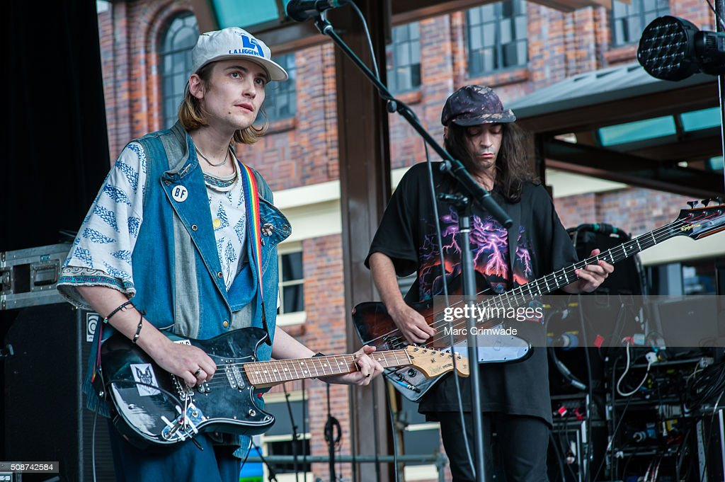 Zachary Cole Smith and Devin Peree from the band DIIV perform at St Jerome's Laneway Festival on February 6 2016 in Brisbane