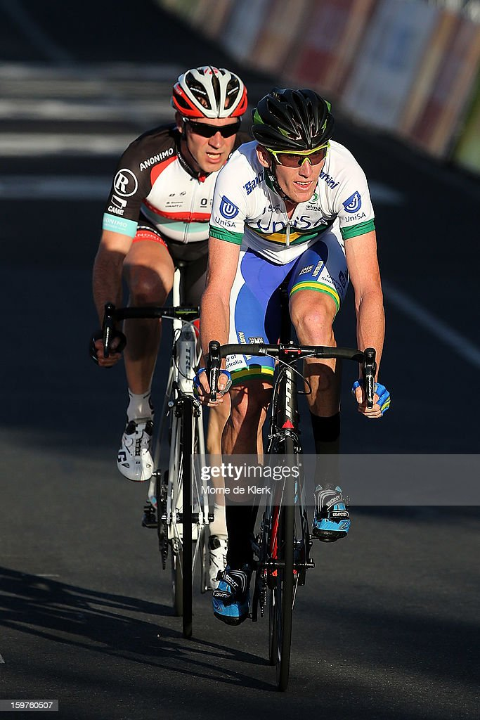 Zachary Dempster of Australia and team UniSa Australia and Jens Voigt (L) of Germany and team Radioshack Leopard Trek rides during the People's Choice Classic race of the Tour Down Under on January 20, 2013 in Adelaide, Australia.