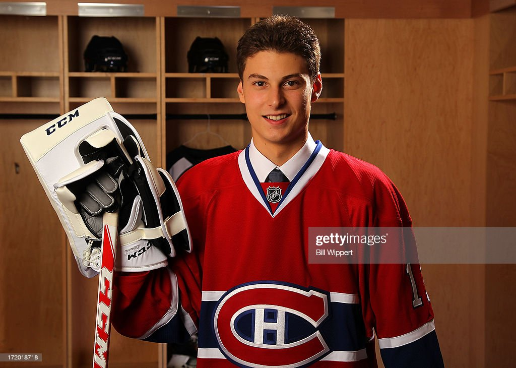 <a gi-track='captionPersonalityLinkClicked' href=/galleries/search?phrase=Zachary+Fucale&family=editorial&specificpeople=9959699 ng-click='$event.stopPropagation()'>Zachary Fucale</a>, 36th overall pick by the Montreal Canadiens, poses for a portrait during the 2013 NHL Draft at Prudential Center on June 30, 2013 in Newark, New Jersey.