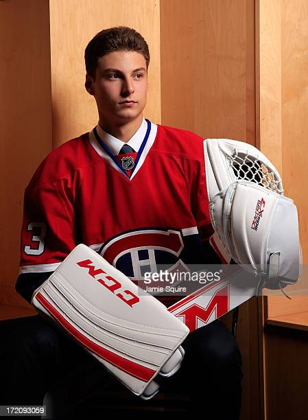 Zachary Fucale 36th overall pick by the Montreal Canadiens poses for a portrait during the 2013 NHL Draft at the Prudential Center on June 30 2013 in...