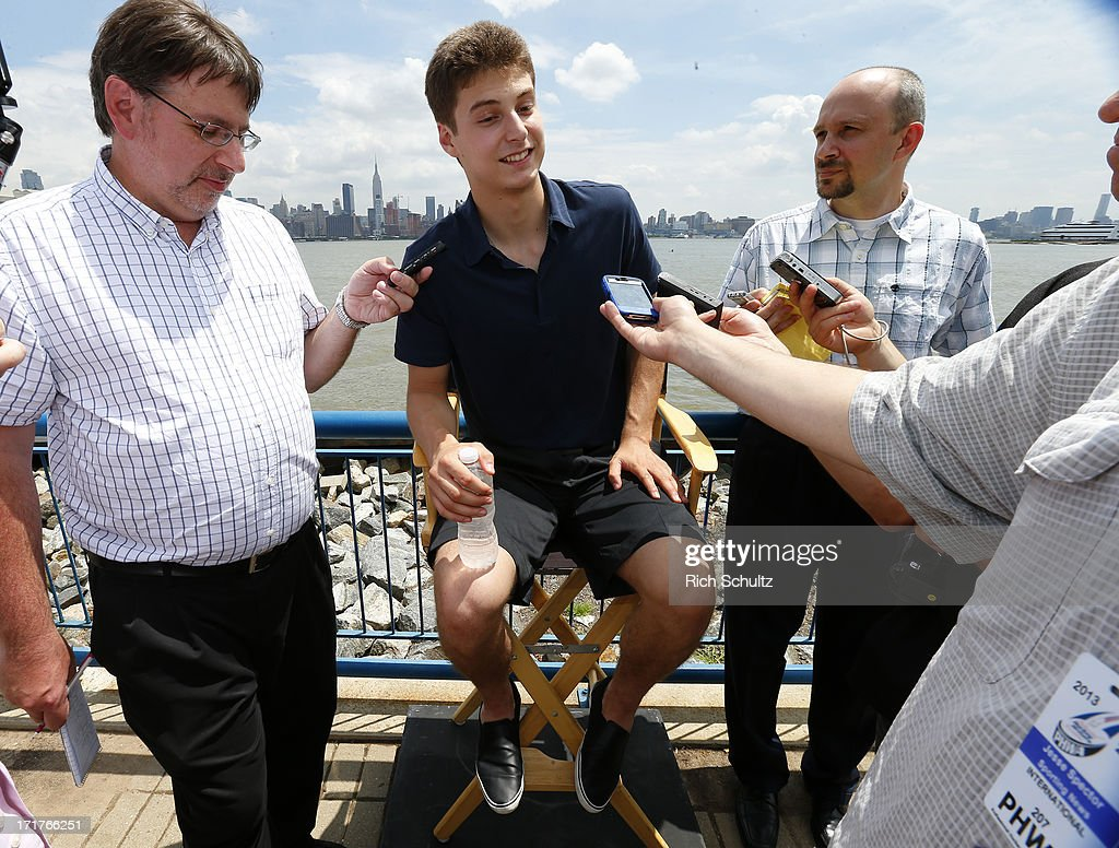 <a gi-track='captionPersonalityLinkClicked' href=/galleries/search?phrase=Zachary+Fucale&family=editorial&specificpeople=9959699 ng-click='$event.stopPropagation()'>Zachary Fucale</a> during a media availability on June 28, 2013 in Weehawken, New Jersey. The NHL will be holding it's player draft Sunday at the Prudential Center in Newark.