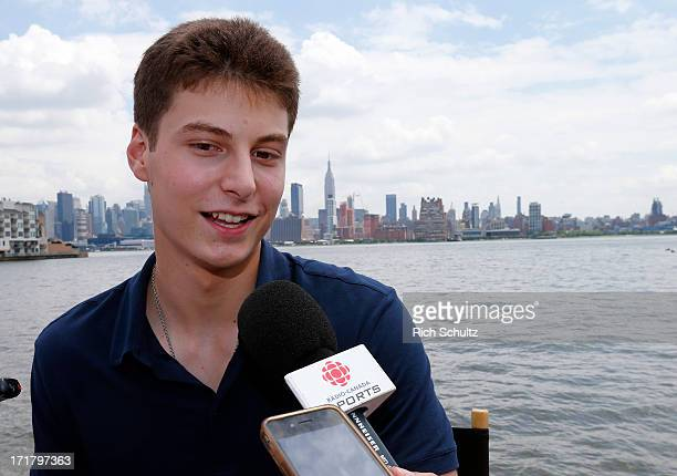 Zachary Fucale gives an interview during media availability on June 28 2013 in Weehawken New Jersey The NHL will be holding its player draft on June...