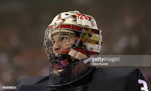 TORONTO ON DECEMBER 19 Zachary Fucale goes for a skate after being scored on in second period action as the Team Canada plays Team Russia in a 2015...