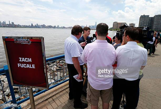 Zachary Fucale is surrounded by members of the media during an availability on June 28 2013 in Weehawken New Jersey The NHL will be holding its...