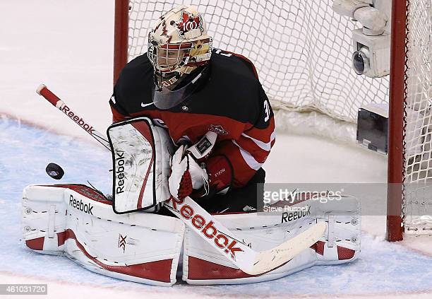 TORONTO ON JANUARY 4 Zachary Fucale makes a stop as Team Canada beats Team Slovakia 51 in the semi final round to advance to the Gold Medal game of...
