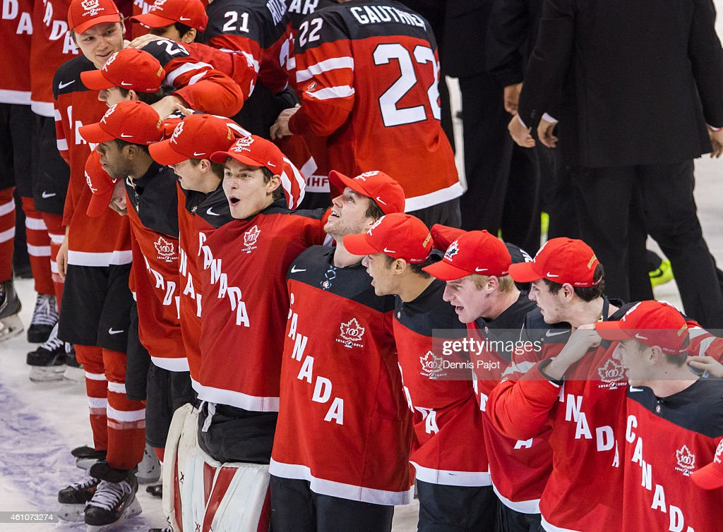 Zachary Fucale #31 of Canada celebrates the 5-4 win over Russia during the Gold medal game of the 2015 IIHF World Junior Championship on January 05, 2015 at the Air Canada Centre in Toronto, Ontario, Canada.