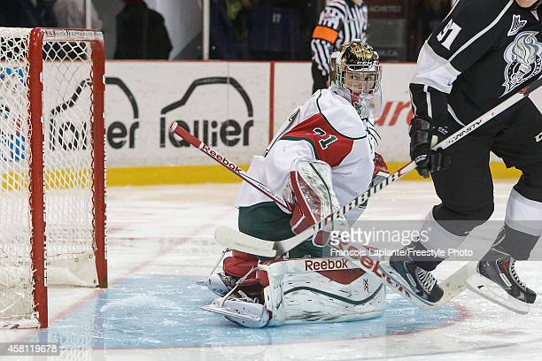 Zachary Fucale of the Halifax Mooseheads guards his net against the Gatineau Olympiques on October 24 2014 at Robert Guertin Arena in Gatineau Quebec...