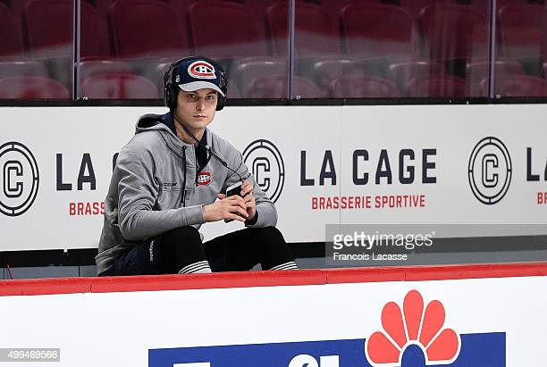 Zachary Fucale of the Montreal Canadiens relax on the bench before the NHL game against the Columbus Blue Jackets at the Bell Centre on December 1...