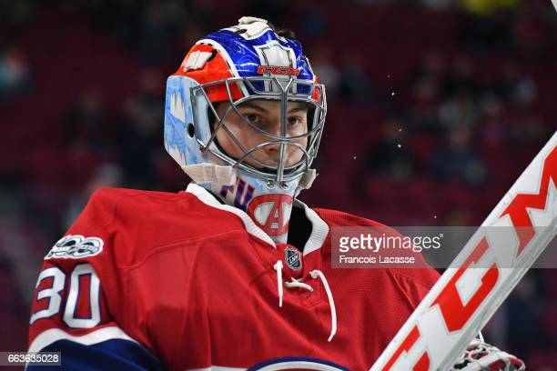 Zachary Fucale of the Montreal Canadiens warms up prior to the NHL game against the Dallas Stars at the Bell Centre on March 28 2017 in Montreal...