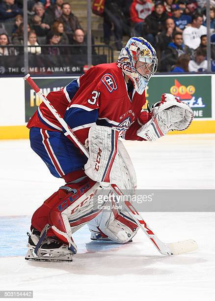 Zachary Fucale of the St Johns IceCaps prepares for a shot against the Toronto Marlies during AHL game action on December 26 2015 at Air Canada...