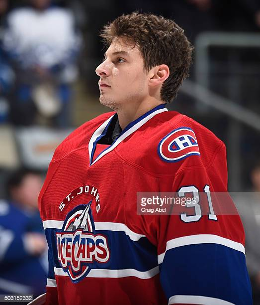 Zachary Fucale of the St Johns IceCaps prepares himself prior to the game against the Toronto Marlies on December 26 2015 at Air Canada Centre in...