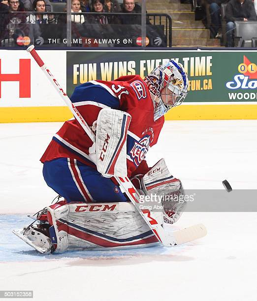 Zachary Fucale of the St Johns IceCaps stops a shot against the Toronto Marlies during AHL game action on December 26 2015 at Air Canada Centre in...