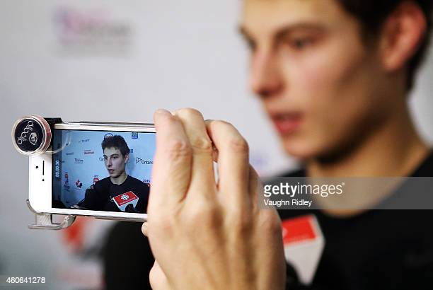 Zachary Fucale speaks to the media following the Canada National Junior Team practice at the Meridian Centre on December 18 2014 in St Catharines...