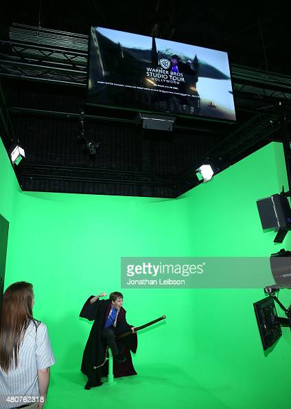 Zachary Haven enjoys a green screen installation at the Warner Bros Studio Tour Hollywood Expansion Official Unveiling Stage 48 Script To Screen at...