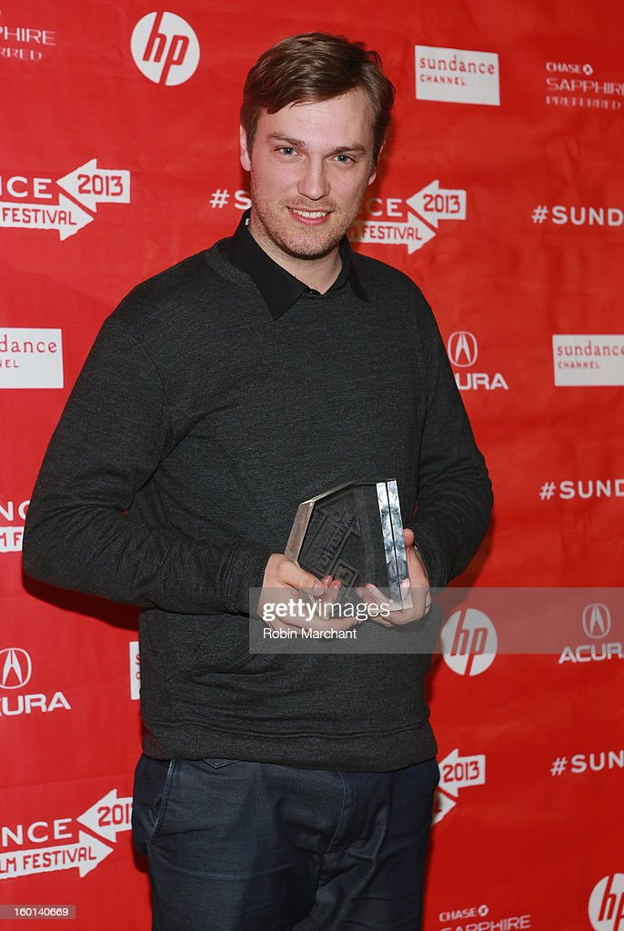 Zachary Heinzerling the Winner of the Directing Award: U.S. Documentary for Cutie and the Boxer poses with award at the Awards Night Ceremony during the 2013 Sundance Film Festival at Basin Recreation Field House on January 26, 2013 in Park City, Utah.