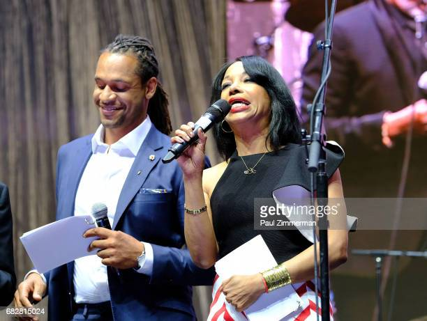 Zachary Kiesch and Christal Young speak onstage at the 35th Anniversary Mother's Day Weekend Gospelfest 2017 at Prudential Center on May 13 2017 in...