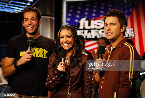 Zachary Levi and Fuse VJs Marianela and Steven during Green Day and Zachary Levi Visit Fuse's 'Daily Download' November 1 2004 at Fuse Studios in New...