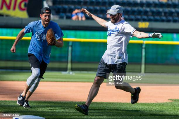 Zachary Levi reacts to Martin Starr rounding third during the Big Slick Celebrity Weekend benefitting Children's Mercy Hospital of Kansas City on...