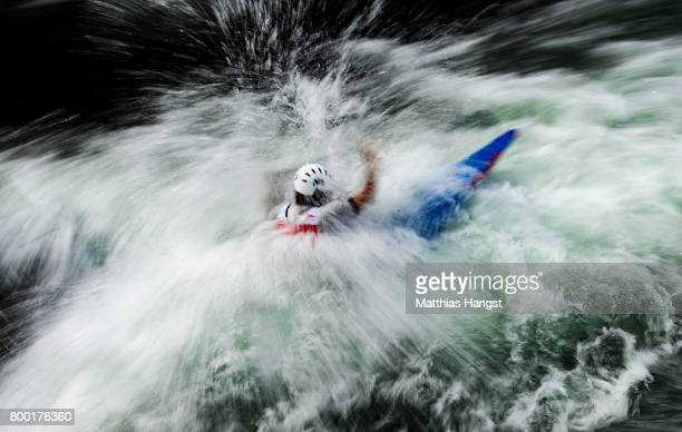 Zachary Lokken of the United States competes during the Canoe Single Men's Qualification of the ICF Canoe Slalom World Cup on June 23 2017 in...