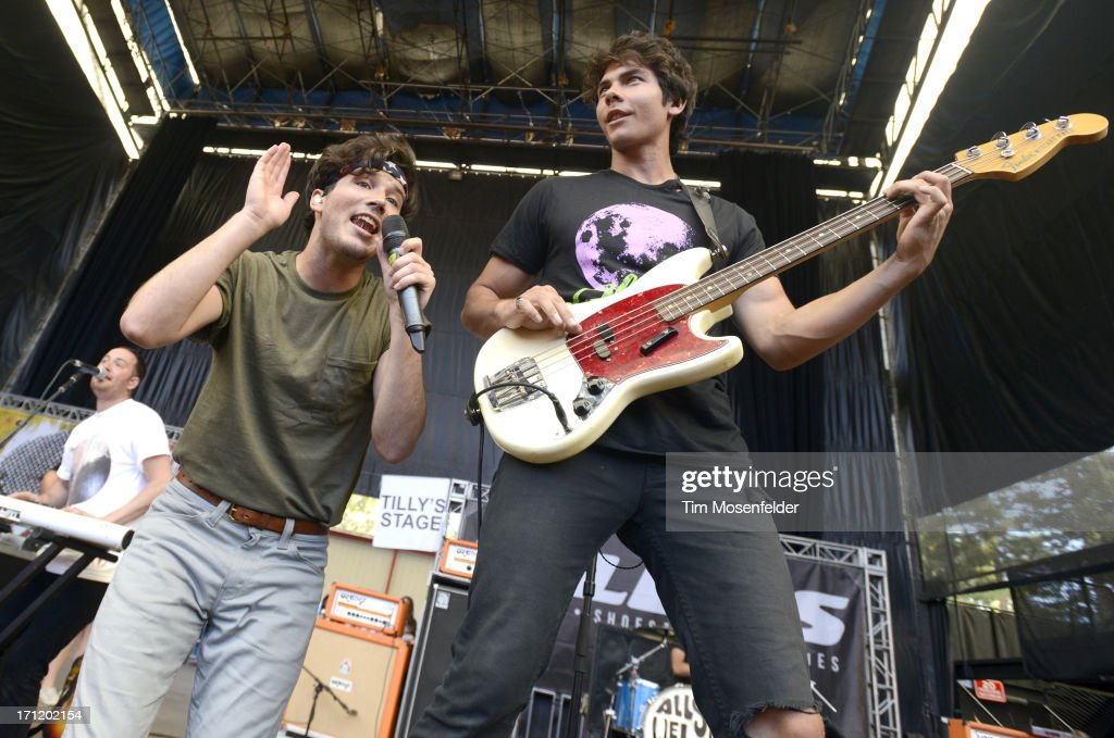 Zachary Porter (L) and Cameron Quiseng of Allstar Weekend perform as part of the Vans Warped Tour at Shoreline Amphitheatre on June 22, 2013 in Mountain View, California.