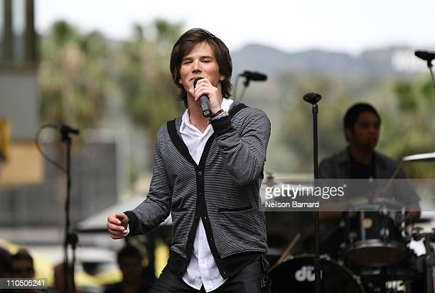 Zachary Porter of Allstar Weekend performs on stage at Dell's SWITCH by Design Studio laptop lid concert at The Hollywood and Highland Center on...