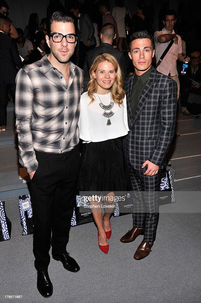 <a gi-track='captionPersonalityLinkClicked' href=/galleries/search?phrase=Zachary+Quinto&family=editorial&specificpeople=715956 ng-click='$event.stopPropagation()'>Zachary Quinto</a>, a guest and <a gi-track='captionPersonalityLinkClicked' href=/galleries/search?phrase=Colton+Haynes&family=editorial&specificpeople=4282136 ng-click='$event.stopPropagation()'>Colton Haynes</a> attend the Richard Chai Spring 2014 fashion show during Mercedes-Benz Fashion Week at The Stage at Lincoln Center on September 5, 2013 in New York City.