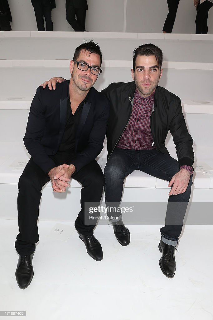<a gi-track='captionPersonalityLinkClicked' href=/galleries/search?phrase=Zachary+Quinto&family=editorial&specificpeople=715956 ng-click='$event.stopPropagation()'>Zachary Quinto</a> (R) and his brother Jo Quinto attend Dior Homme Menswear Spring/Summer 2014 Show As Part Of The Paris Fashion Week on June 29, 2013 in Paris, France.
