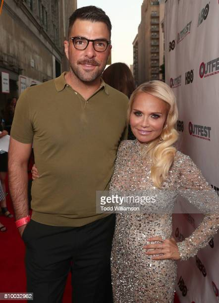Zachary Quinto and Kristin Chenoweth attend the 2017 Outfest Los Angeles LGBT Film Festival Opening Night Gala at Orpheum Theatre on July 6 2017 in...