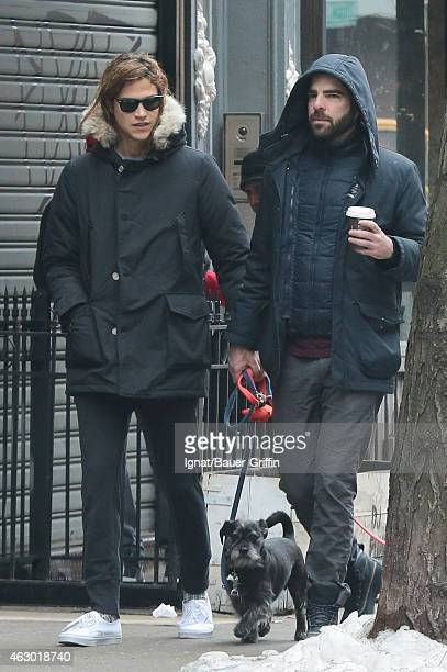 Zachary Quinto and Miles McMillan are seen in New York City on February 08 2015 in New York City