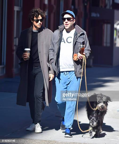 Zachary Quinto and Miles Mcmillan are seen in Soho on March 30 2016 in New York City