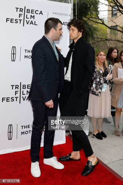 Zachary Quinto and Miles McMillan attend the premiere of 'Aardvark' during the 2017 Tribeca Film Festival at SVA Theatre on April 21 2017 in New York...
