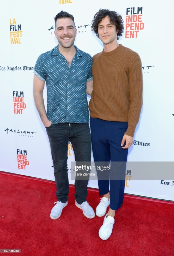 Zachary Quinto and Miles McMillan attend the premieres of 'Never Here' and 'Laps' during 2017 Los Angeles Film Festival at Arclight Cinemas Culver City on June 18, 2017 in Culver City, California.