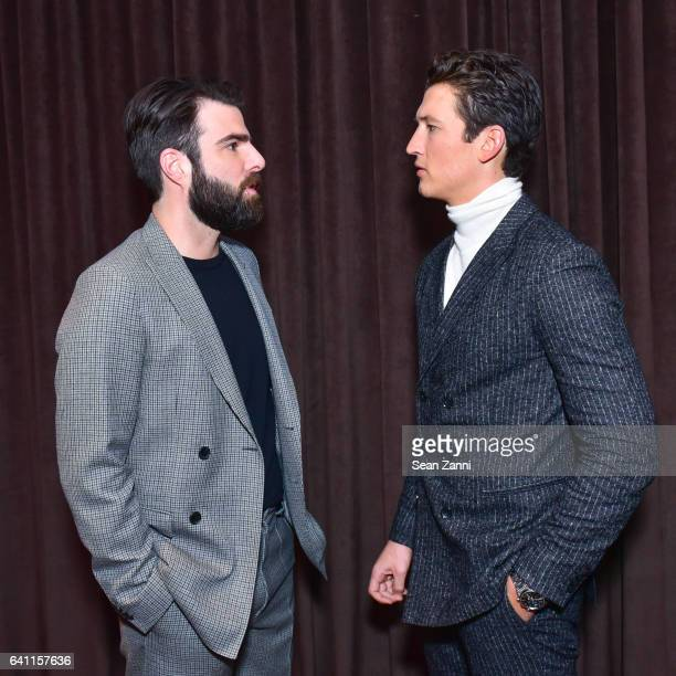 Zachary Quinto and Miles Teller attend Boss Front Row NYFW Men's at Skylight Modern on January 31 2017 in New York City