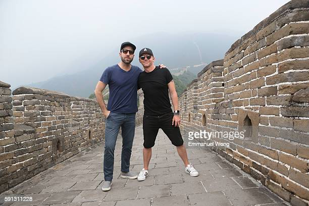 Zachary Quinto and Simon Pegg visit the Great Wall during the promotional tour of the Paramount Pictures title 'Star Trek Beyond' on August 17 2016...