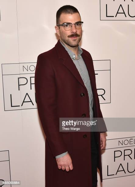 Zachary Quinto attends 'Present Laughter' Broadway Opening Night Arrivals Curtain Call at St James Theatre on April 5 2017 in New York City
