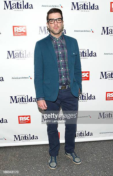 Zachary Quinto attends the 'Matilda The Musical' Broadway Opening Night at Shubert Theatre on April 11 2013 in New York City