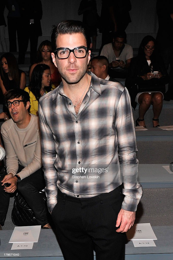 <a gi-track='captionPersonalityLinkClicked' href=/galleries/search?phrase=Zachary+Quinto&family=editorial&specificpeople=715956 ng-click='$event.stopPropagation()'>Zachary Quinto</a> attends the Richard Chai Spring 2014 fashion show during Mercedes-Benz Fashion Week at The Stage at Lincoln Center on September 5, 2013 in New York City.
