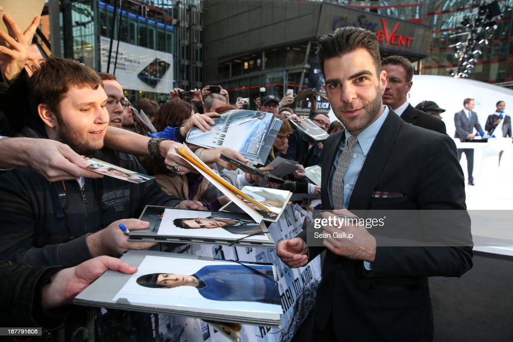 <a gi-track='captionPersonalityLinkClicked' href=/galleries/search?phrase=Zachary+Quinto&family=editorial&specificpeople=715956 ng-click='$event.stopPropagation()'>Zachary Quinto</a> attends the 'Star Trek Into Darkness' Premiere at CineStar on April 29, 2013 in Berlin, Germany.