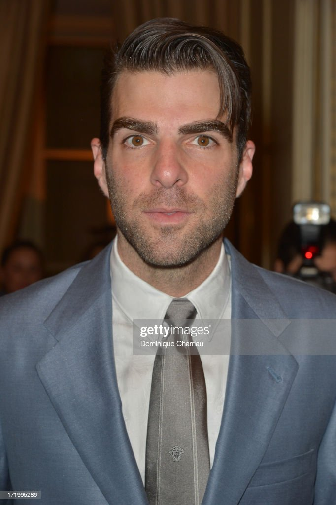 <a gi-track='captionPersonalityLinkClicked' href=/galleries/search?phrase=Zachary+Quinto&family=editorial&specificpeople=715956 ng-click='$event.stopPropagation()'>Zachary Quinto</a> attends the Versace show as part of Paris Fashion Week Haute-Couture Fall/Winter 2013-2014 at on June 30, 2013 in Paris, France.