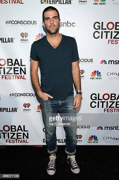 Zachary Quinto attends VIP Lounge at the 2014 Global Citizen Festival to end extreme poverty by 2030 in Central Park on September 27 2014 in New York...