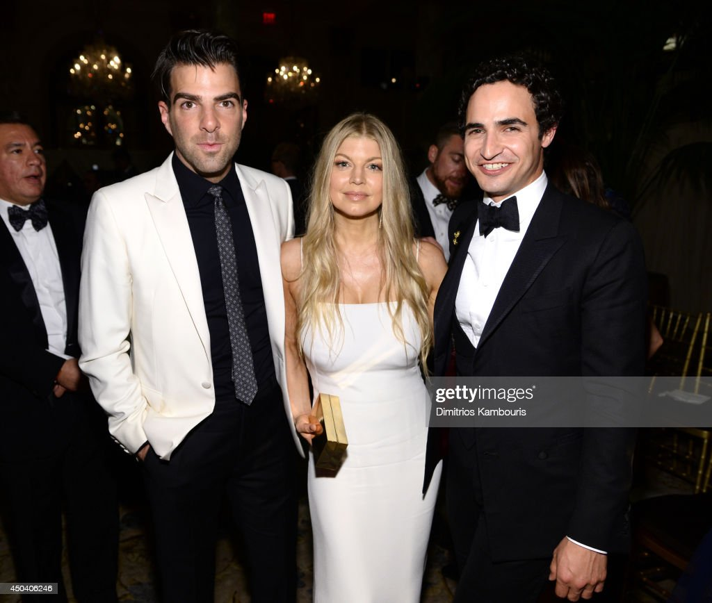 Zachary Quinto, Fergie Duhamel and Zac Posen attend the amfAR Inspiration Gala New York 2014 at The Plaza Hotel on June 10, 2014 in New York City.