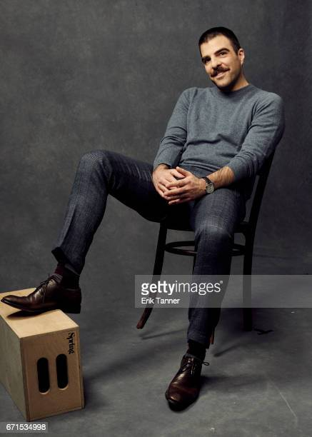 Zachary Quinto from 'Aardvark' poses at the 2017 Tribeca Film Festival portrait studio on April 21 2017 in New York City