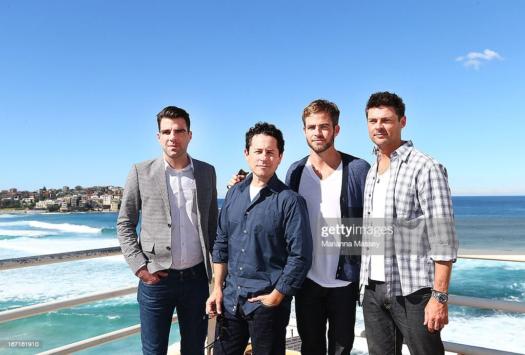 <a gi-track='captionPersonalityLinkClicked' href=/galleries/search?phrase=Zachary+Quinto&family=editorial&specificpeople=715956 ng-click='$event.stopPropagation()'>Zachary Quinto</a>, <a gi-track='captionPersonalityLinkClicked' href=/galleries/search?phrase=J.J.+Abrams&family=editorial&specificpeople=253632 ng-click='$event.stopPropagation()'>J.J. Abrams</a>, <a gi-track='captionPersonalityLinkClicked' href=/galleries/search?phrase=Chris+Pine&family=editorial&specificpeople=641995 ng-click='$event.stopPropagation()'>Chris Pine</a> and <a gi-track='captionPersonalityLinkClicked' href=/galleries/search?phrase=Karl+Urban&family=editorial&specificpeople=2139847 ng-click='$event.stopPropagation()'>Karl Urban</a> pose at Bondi Beach at the 'Star Trek Into Darkness' photo call on April 22, 2013 in Sydney, Australia.