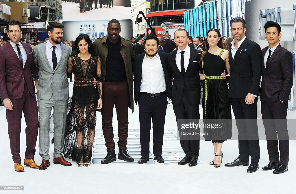 Zachary Quinto Karl Urban Sofia Boutella Idris Elba Justin Lin Simon Pegg Lydia Wilson Chris Pine and John Cho attend the UK Premiere of 'Star Trek...