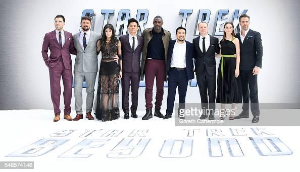 Zachary Quinto Karl Urban Sofia Boutella John Cho Idris Elba director Justin Lin Simon Pegg Lydia Wilson and Chris Pine attend the UK Premiere of...