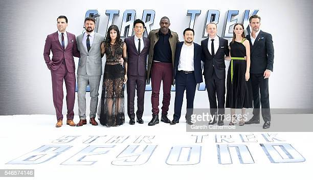 Zachary Quinto Karl Urban Sofia Boutella John Cho Idris Elba director Justin Lin Simon Pegg Lydia Wilson and Chris Pine attend the UK Premiere of...