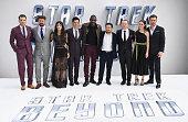 Zachary Quinto Karl Urban Sofia Boutella John Cho Idris Elba Justin Lin Simon Pegg Lydia Wilson and Chris Pine arrive for the UK premiere of 'Star...