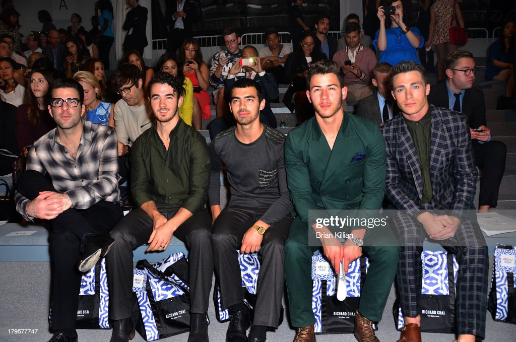 <a gi-track='captionPersonalityLinkClicked' href=/galleries/search?phrase=Zachary+Quinto&family=editorial&specificpeople=715956 ng-click='$event.stopPropagation()'>Zachary Quinto</a>, <a gi-track='captionPersonalityLinkClicked' href=/galleries/search?phrase=Kevin+Jonas&family=editorial&specificpeople=709547 ng-click='$event.stopPropagation()'>Kevin Jonas</a>, <a gi-track='captionPersonalityLinkClicked' href=/galleries/search?phrase=Joe+Jonas&family=editorial&specificpeople=842712 ng-click='$event.stopPropagation()'>Joe Jonas</a>, <a gi-track='captionPersonalityLinkClicked' href=/galleries/search?phrase=Nick+Jonas&family=editorial&specificpeople=842713 ng-click='$event.stopPropagation()'>Nick Jonas</a>, and actor <a gi-track='captionPersonalityLinkClicked' href=/galleries/search?phrase=Colton+Haynes&family=editorial&specificpeople=4282136 ng-click='$event.stopPropagation()'>Colton Haynes</a> attend the Richard Chai -- Love & Richard Chai Men's show during Spring 2014 Mercedes-Benz Fashion Week at The Stage at Lincoln Center on September 5, 2013 in New York City.